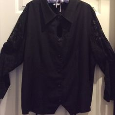 Dressy black blouse Lace Sleeves Blouse has keyhole opening. Back has a tie that you can adjust. Has lovely black buttons. A comfortable dressy blouse to wear for any occasion. Maggie Lawrence Tops Blouses