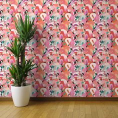 Flamingoes In Orange And Pink Large By Rubydoor Flamingo Wallpaper Custom Printed Removable Self Adhesive Wallpaper Roll by Spoonflower