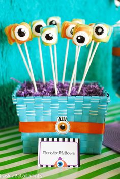 Monster Party ideas - Monster Marshmallow Pops - these would be really easy and fun to do