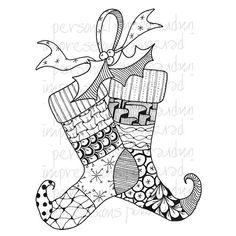 zentangled christmas stockings - Google Search
