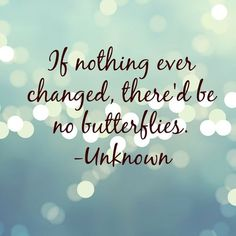 If nothing ever changed, there would be no butterflies :)