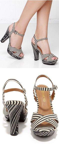 Strip Black Sandals