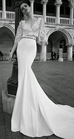 Inbal Dror Wedding Dress Collection ♥ We're starting off 2015 with a furious flurry of wedding dress fabulosity, bringing you yet another dose of droolworthy deliciousness! Today we fawn all over the smoking hot Inbal Dror Wedding Dresses from her 2 Piece Wedding Dress, 2015 Wedding Dresses, Gorgeous Wedding Dress, Bridal Dresses, Wedding Gowns, Wedding Blog, Wedding Ceremony, Wedding Skirt, Ceremony Dresses