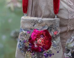 Spicy roses bag  romantic embroidered purse by FleursBoheme