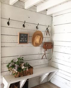 Perfect for my Farmhouse Mudroom Country Farmhouse Decor, Farmhouse Style, White Farmhouse, French Farmhouse, Entry Way Design, Farmhouse Fireplace, Magnolia Homes, Ship Lap Walls, Organizing Your Home