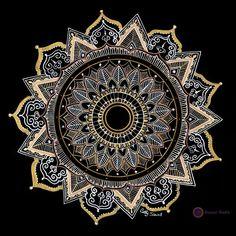 Mandala in golds and whites corak cantik in 2019 мандалы, уз Mandala Doodle, Mandala Dots, Mandala Pattern, Pattern Art, Flower Mandala, Mandalas Painting, Mandalas Drawing, Mandala Artwork, Islamic Art Pattern
