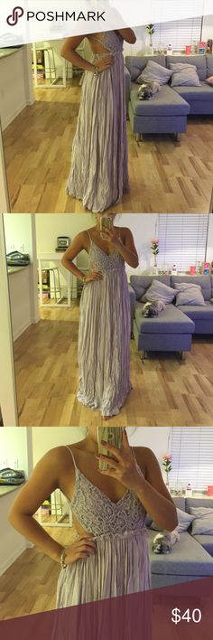 lavender backless maxi 10/10 NWT never worn lavender embroidery maxi with backless detail. stretchy at the waist and extremely comfortable. super cute for the summer! fits like a true small. no trades. Lulu's Dresses Maxi