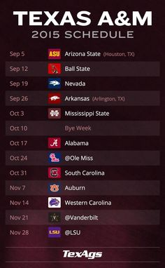 Texas A&M 2015 Football schedule! I want to go to the T A&M .v.s SC game