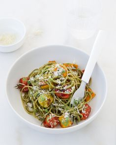 Fitness Guru Michelle Bridges' Basil and Walnut Pesto Spaghetti | Basil & Walnut Pesto Spaghetti with Roast Tomatoes & Butternut Squash