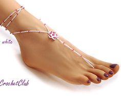 PRECIOUS FLOWER Barefoot Sandals, wedding accessory, yoga, anklet, beach and pool party, nude shoes, other beads COLORS available