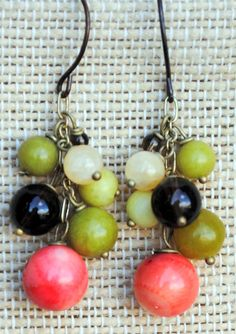 Splash of Summer Cluster Earrings are created with calcite, peridot jasper, coral, smokey quartz and olive jade on antique brass.  Ear wires are nickel-free.  $25  Anne Vaughan Designs.