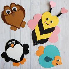 Hoe je deze leuke dieren van hartjes kunt knutselen staat op mijn blog Homemade by Joke. Leuk om te knutselen voor Moederdag of Valentijn ❤️