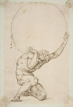 """Crouching Figure of Atlas Baldassare Tommaso Peruzzi (Italian, Ancaiano 1481–1536 Rome); On verso, annotated in pen and brown ink, by the hand usually identified with the """"Borghese Sagredo"""" album (Zaccaria Sagredo?)"""