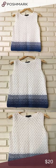 "Crochet Gradient Ombré White & Blue Tank Top Adorable White Tank Top with blue ombré at the bottom. Approximate Measurements: 36"" bust, 22"" long. Excellent condition! Please let me know if you have any questions! 💛 Norton McNaughton Tops Tank Tops"