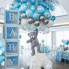 Cute Teddy Bear Baby Shower Decorating Ideas Balloon Box, Baby Balloon, Baby Shower Balloons, Balloon Garland, Balloon Decorations, Unique Baby Shower Themes, Cheap Baby Shower, Baby Shower Decorations For Boys, Baby Boy Shower