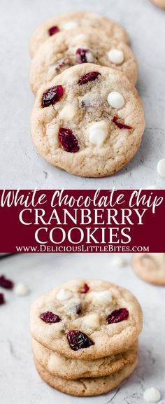 Desserts With Chocolate Chips, White Chocolate Cranberry Cookies, White Chocolate Recipes, White Chocolate Chips, Soft Baked Cookies, Sweet Cookies, Cookies Et Biscuits, Sweet Treats, Drop Cookies