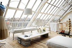 Romantic White Loft With Huge Windows In Sweden. The sort of place I'd love to spend a holiday in but would hate to live in. Architecture Design, Casas Containers, Loft Interiors, White Interiors, Modern Interiors, Huge Windows, Ceiling Windows, Casement Windows, Slanted Ceiling