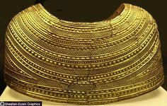 The back of the gold cape found in Mold, Wales. Dating from the Early/Middle Bronze Age, both shoulders and missing fragments were restored by the British Museum...