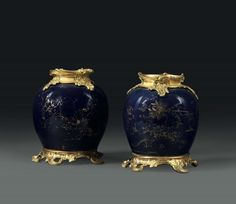Two vases in blue and gold porcelain, Qing dynasty, China 18th century - montati in [...], Taste, Furniture and Residences, An Italian Collection (Genova) à Cambi Casa d'Aste | Auction.fr