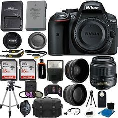Nikon D5300 242 MP CMOS Digital SLR Camera Black With Nikon 1855mm f3556G VR II AFS DX NIKKOR Zoom Lens  32GB Accessory Bundle International Version No Warranty ** Continue to the product at the image link.
