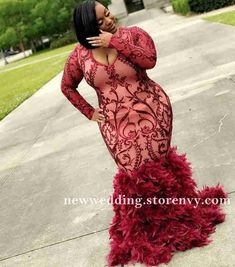 African Style Feather Plus Size Prom Dresses For Black Girls Mermaid Evening Dress Long Sleeve Party Gowns Un abito (noto anche come abito. Plus Prom Dresses, Black Girl Prom Dresses, Long Sleeve Evening Dresses, Mermaid Evening Dresses, Plus Size Dresses, Dress Long, Hippie Dresses, Fall Dresses, Prom Hairstyles