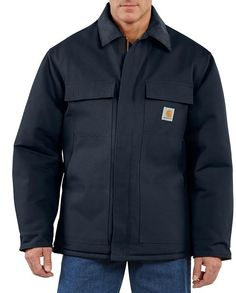 Carhartt Dark Navy Blue Traditional Arctic Quilt-Lined Coats for Men #Workwear #RuggedClothes #WesternStyle #CowboyStyle #ToughClothes #mensworkclothes