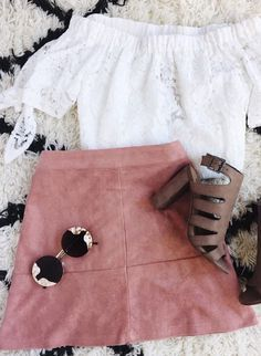 This mauve suede skirt, booties, and off the shoulder top create the perfect ensemble for an on trend outfit all spring long.
