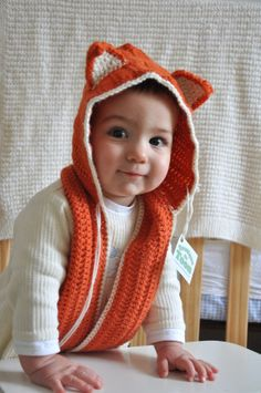 Baby Crochet Hat Orange Fox Scoodie with scarf