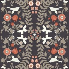 Ty Pennington - Impressions Home Dec - Foliage in Charcoal.  How I love grey and coral together. Now what room can I do that in?