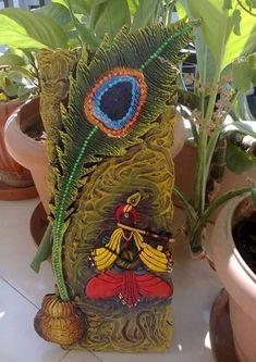 MURAL- made Lord Krishna Mural from clay and acrylic colours Clay Wall Art, Mural Wall Art, Mural Painting, Diy Painting, Clay Art Projects, Clay Crafts, Arts And Crafts, Texture Art, Texture Painting