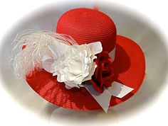 Red & White Women's Derby Hat High Fashion by Marcellefinery, $56.00