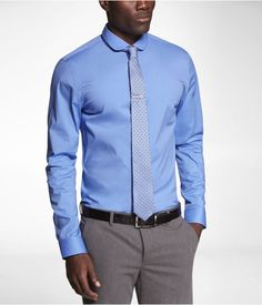 Express Mens 1Mx Fitted Club Collar Shirt French Blue Button Down