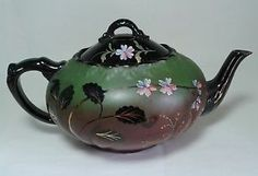 ANTIQUE VICTORIAN JACKFIELD TEAPOT HAND PAINTED BLACK GREEN FLOWERS POTTERY X