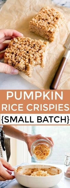 A small batch of rice crispy treats for two! A half batch of pumpkin spice rice crispy treats made in a bread loaf pan. Desserts in a loaf pan! Pumpkin spice rice krispies treats!