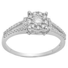 Elora 10k Gold 3/8ct TDW Round White Diamond Bridal Ring (I-J, I1-I2) (Size