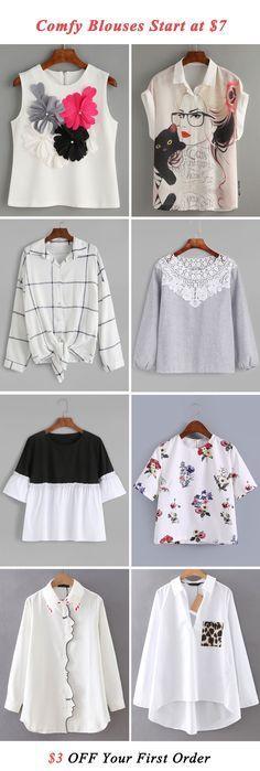 Comfy blouses start at $7!