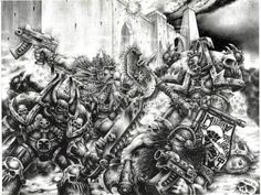 W40k Space dwarves vs Space marines  Khorne Squats