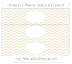 Free White and Eggshell Chevron  DIY Water Bottle Wrappers