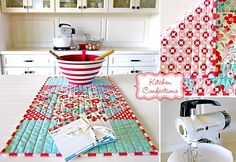 Patchwork table runner with straight line quilting. Using Moda Fabric's charming Vintage Modern fabric. So cheery!