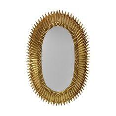 Rita Gold Oval Mirror by Worlds Away brings a hint of old world glamour and luxury to any interior. The oval wall mirror is surrounded by a frame with a unique starburst design and stunning gold leaf finish. Dimensions: x x