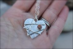 FREE SHIPPING Mended Heart Valentine Sterling by KittyStoykovich
