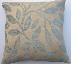 Blue and Taupe Pillow Cover  Blue Gray Leaves on by sassypillows