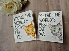 World's Best Cat Dad Father's Day Card Blank Card