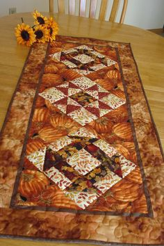 Autumn Leaves Quilted Tablerunner by NeedleLove2 on Etsy, $35.00