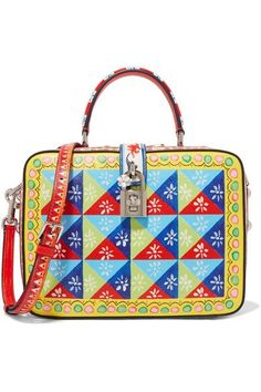 DOLCE & GABBANA Dolce printed textured-leather shoulder bag. #dolcegabbana #bags #shoulder bags #hand bags #leather #