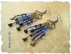 Boho Style Earrings Long Chandelier Assemblage Earrings Blue