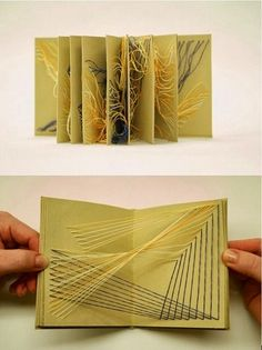 Pull by Kate Callan. x Pull contains eight explorations of string formations when fully open. Some strings continue through the pages making it impossible to view more than one page at a time. Book making from Bri Up Book, Book Art, Libros Pop-up, Buch Design, Design Art, Graphic Design, Book Sculpture, Paper Sculptures, Japan Design