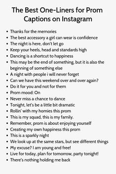 The Best One-Liners for Prom Captions on - Deneme Instagram Captions For Selfies, Selfie Captions, Instagram Funny, Instagram Quotes, Dance Captions, Prom Captions, Cute Captions, One Word Caption, Caption For Friends