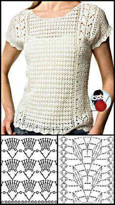 Débardeurs Au Crochet, Crochet Shell Stitch, Crochet Woman, Crochet Cardigan, Crochet Stitches, Crochet Patterns, Crochet T Shirts, Crochet Clothes, Crochet Summer Tops