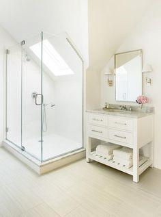 Shower Skylight Sloped Ceiling, Transitional, Bathroom